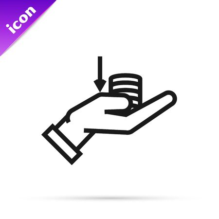 Black line Money on hand icon isolated on white background. Palm holds cash with down. Cash salary decrease. Vector Illustration
