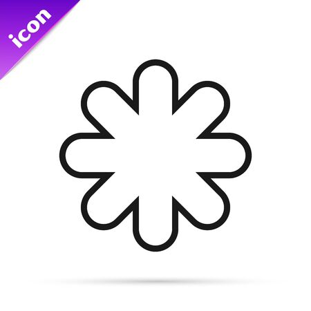 Black line Cross hospital medical icon isolated on white background. First aid. Diagnostics symbol. Medicine and pharmacy sign. Vector Illustration 일러스트