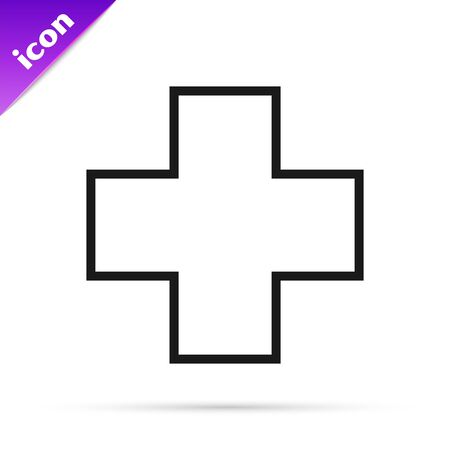 Black line Cross hospital medical icon isolated on white background. First aid. Diagnostics symbol. Medicine and pharmacy sign. Vector Illustration 矢量图像