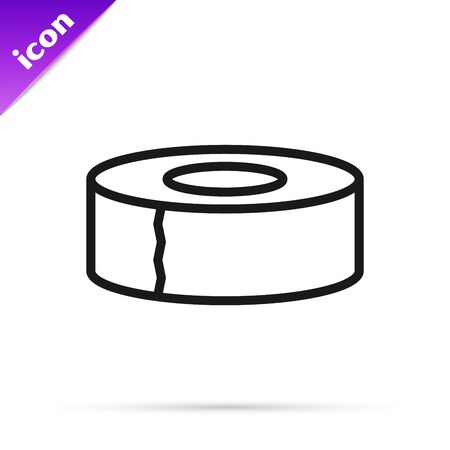Black line Scotch icon isolated on white background. Roll of adhesive tape for work and repair. Sticky packing tape. Office tool and stuff. Vector Illustration Stock Illustratie