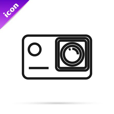 Black line Action extreme camera icon isolated on white background. Video camera equipment for filming extreme sports. Vector Illustration Иллюстрация
