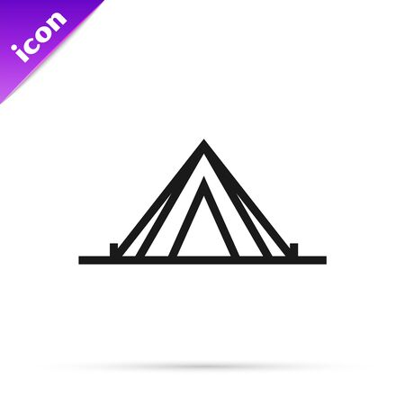 Black line Tourist tent icon isolated on white background. Camping symbol. Vector Illustration  イラスト・ベクター素材