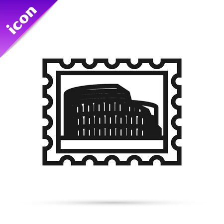 Black line Postal stamp and Coliseum icon isolated on white background. Colosseum sign. Symbol of Ancient Rome, gladiator fights. Vector Illustration