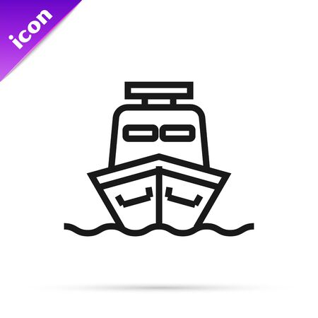 Black line Ship icon isolated on white background. Vector Illustration