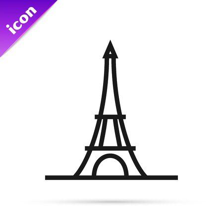 Black line Eiffel tower icon isolated on white background. France Paris landmark symbol. Vector Illustration Ilustracja