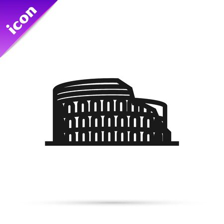 Black line Coliseum in Rome, Italy icon isolated on white background. Colosseum sign. Symbol of Ancient Rome, gladiator fights. Vector Illustration