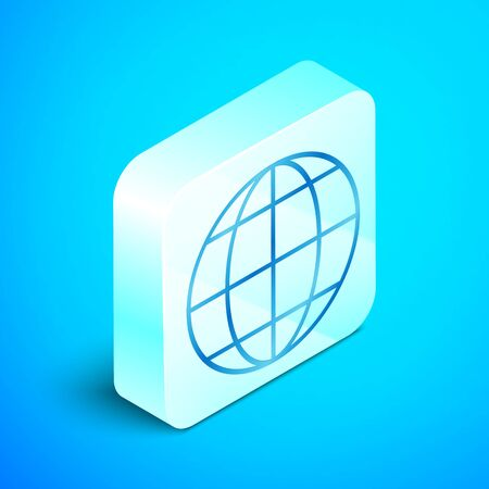 Isometric line Earth globe icon isolated on blue background. World or Earth sign. Global internet symbol. Geometric shapes. Silver square button. Vector Illustration