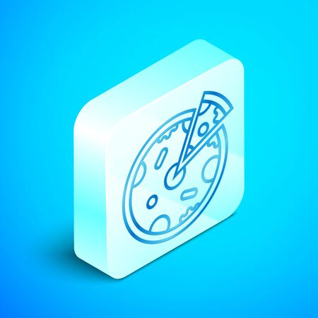 Isometric line Pizza icon isolated on blue background. Fast food menu. Silver square button. Vector Illustration