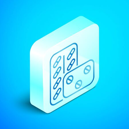 Isometric line Pills in blister pack icon isolated on blue background. Medical drug package for tablet vitamin, antibiotic, aspirin. Silver square button. Vector Illustration