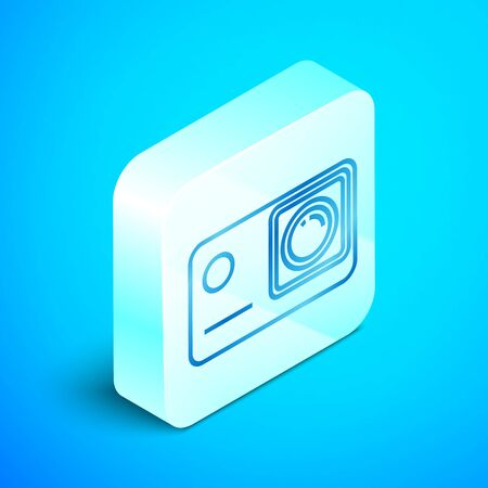 Isometric line Action extreme camera icon isolated on blue background. Video camera equipment for filming extreme sports. Silver square button. Vector Illustration Иллюстрация