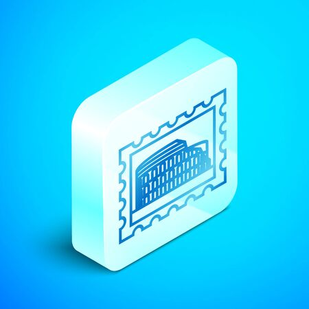 Isometric line Postal stamp and Coliseum icon isolated on blue background. Colosseum sign. Symbol of Ancient Rome, gladiator fights. Silver square button. Vector Illustration Illustration