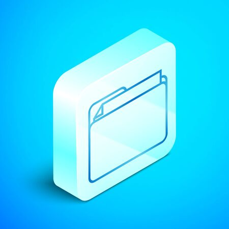 Isometric line Document folder icon isolated on blue background. Accounting binder symbol. Bookkeeping management. Silver square button. Vector Illustration