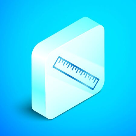 Isometric line Ruler icon isolated on blue background. Straightedge symbol. Silver square button. Vector Illustration