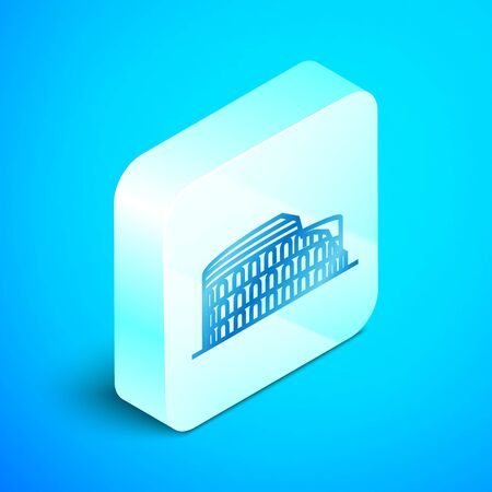 Isometric line Coliseum in Rome, Italy icon isolated on blue background. Colosseum sign. Symbol of Ancient Rome, gladiator fights. Silver square button. Vector Illustration