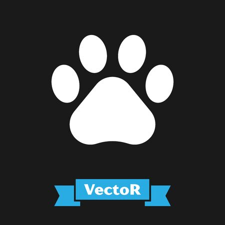 White Paw print icon isolated on black background. Dog or cat paw print. Animal track. Vector Illustration Ilustração