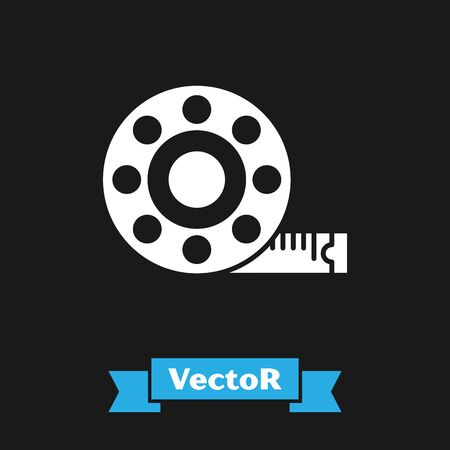 White Tape measure icon isolated on black background. Measuring tape. Vector Illustration Ilustração