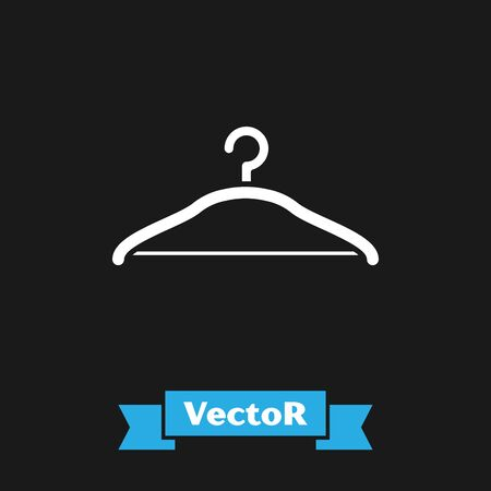 White Hanger wardrobe icon isolated on black background. Cloakroom icon. Clothes service symbol. Laundry hanger sign. Vector Illustration