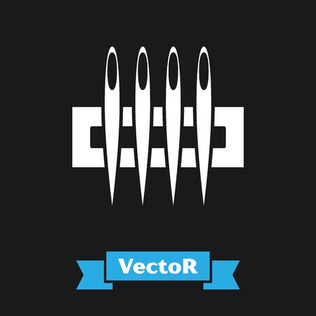 White Needle for sewing icon isolated on black background. Tailor symbol. Textile sew up craft sign. Embroidery tool. Vector Illustration