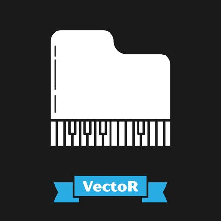 White Grand piano icon isolated on black background. Musical instrument. Vector Illustration Illustration