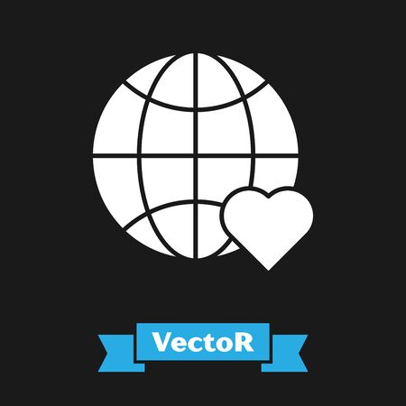 White The heart world - love icon isolated on black background. Vector Illustration