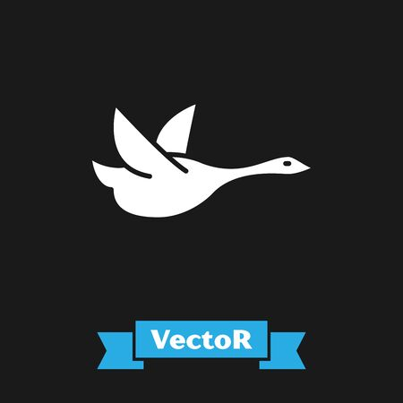 White Flying duck icon isolated on black background. Vector Illustration