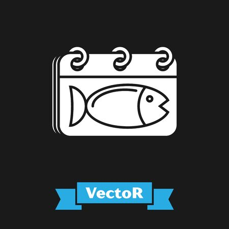 White Calendar with a fish icon isolated on black background. Day of fish. Vector Illustration