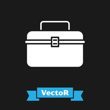 White Case or box container for wobbler and gear fishing equipment icon isolated on black background. Fishing tackle. Vector Illustration