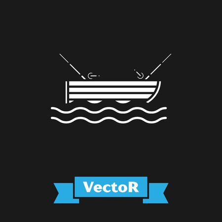 White Fishing boat with fishing rod on water icon isolated on black background. Vector Illustration