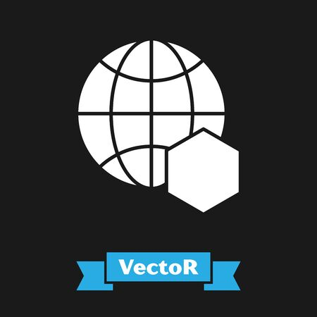 White Honeycomb map of the world icon isolated on black background. World bee day. Concept ecological event. Vector Illustration Stock Illustratie