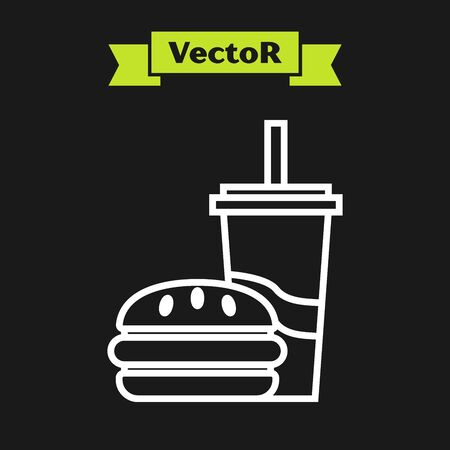 White line Paper glass with drinking straw and burger icon isolated on black background. Soda aqua drink sign. Hamburger, cheeseburger sandwich. Vector Illustration