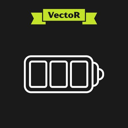White line Battery charge level indicator icon isolated on black background. Vector Illustration