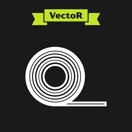White line Scotch icon isolated on black background. Roll of adhesive tape for work and repair. Sticky packing tape. Office tool and stuff. Vector Illustration