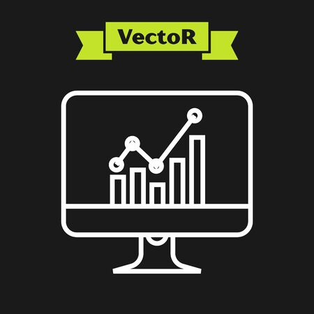 White line Computer monitor with graph chart icon isolated on black background. Report text file icon. Accounting sign. Audit, analysis, planning. Vector Illustration