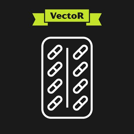 White line Pills in blister pack icon isolated on black background. Medical drug package for tablet vitamin, antibiotic, aspirin. Vector Illustration