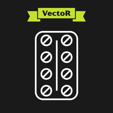 White line Pills in blister pack icon isolated on black background. Medical drug package for tablet vitamin, antibiotic, aspirin. Vector Illustration