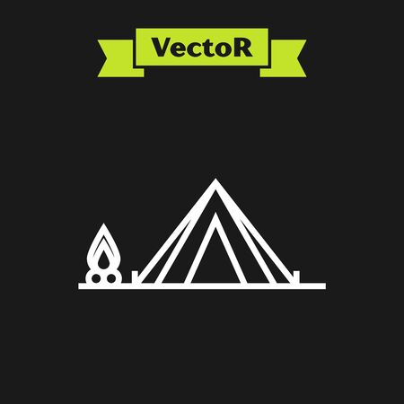 White line Tourist tent with wood fire icon isolated on black background. Camping symbol. Vector Illustration  イラスト・ベクター素材