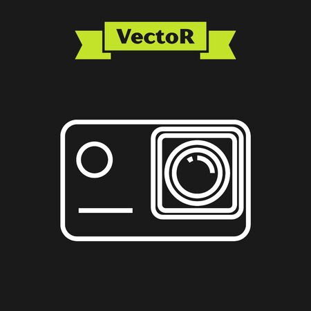 White line Action extreme camera icon isolated on black background. Video camera equipment for filming extreme sports. Vector Illustration Иллюстрация