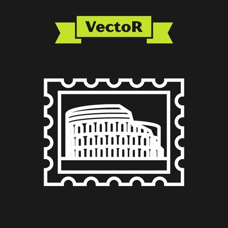 White line Postal stamp and Coliseum icon isolated on black background. Colosseum sign. Symbol of Ancient Rome, gladiator fights. Vector Illustration