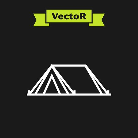 White line Tourist tent icon isolated on black background. Camping symbol. Vector Illustration