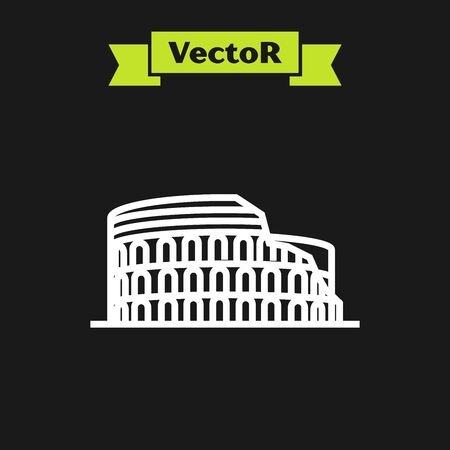 White line Coliseum in Rome, Italy icon isolated on black background. Colosseum sign. Symbol of Ancient Rome, gladiator fights. Vector Illustration
