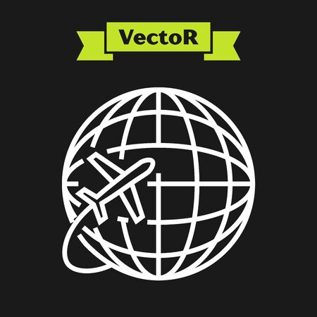 White line Globe with flying plane icon isolated on black background. Airplane fly around the planet earth. Aircraft world icon. Vector Illustration
