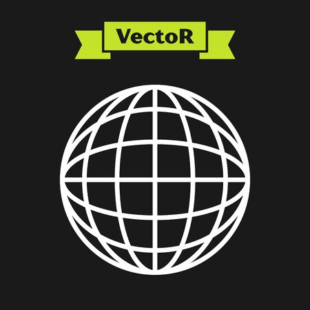 White line Earth globe icon isolated on black background. World or Earth sign. Global internet symbol. Geometric shapes. Vector Illustration