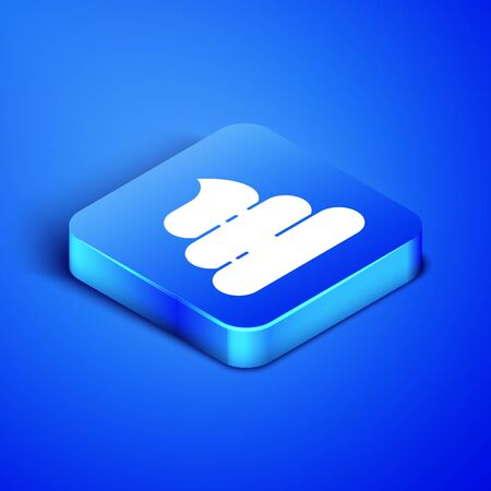 Isometric Shit icon isolated on blue background. Blue square button. Vector Illustration