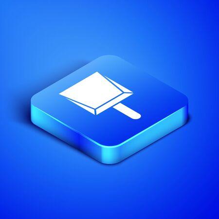 Isometric Dustpan icon isolated on blue background. Cleaning scoop services. Blue square button. Vector Illustration