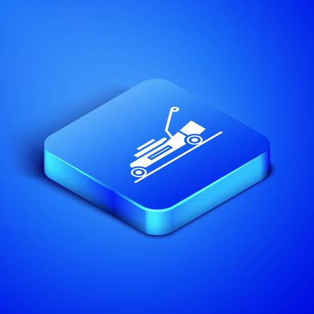 Isometric Lawn mower icon isolated on blue background. Lawn mower cutting grass. Blue square button. Vector Illustration
