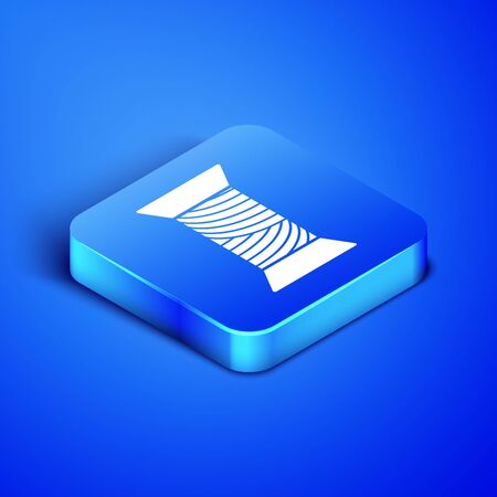 Isometric Sewing thread on spool icon isolated on blue background. Yarn spool. Thread bobbin. Blue square button. Vector Illustration