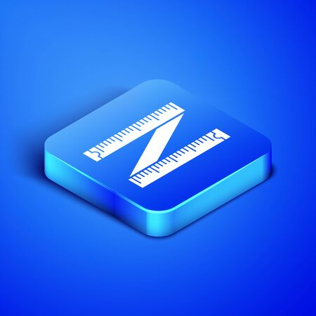 Isometric Tape measure icon isolated on blue background. Measuring tape. Blue square button. Vector Illustration
