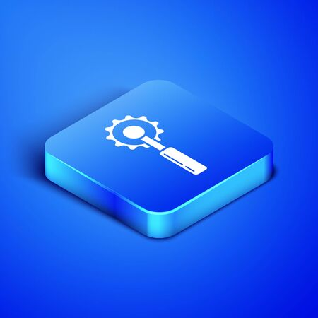 Isometric Cutter tool icon isolated on blue background. Sewing knife with blade. Blue square button. Vector Illustration