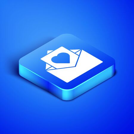 Isometric Envelope with Valentine heart icon isolated on blue background. Message love. Letter love and romance. Blue square button. Vector Illustration