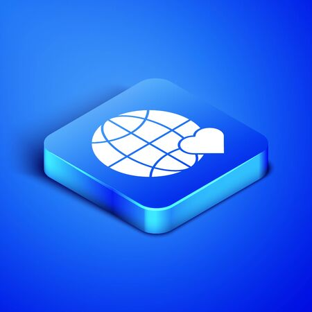 Isometric The heart world - love icon isolated on blue background. Blue square button. Vector Illustration Stock Illustratie